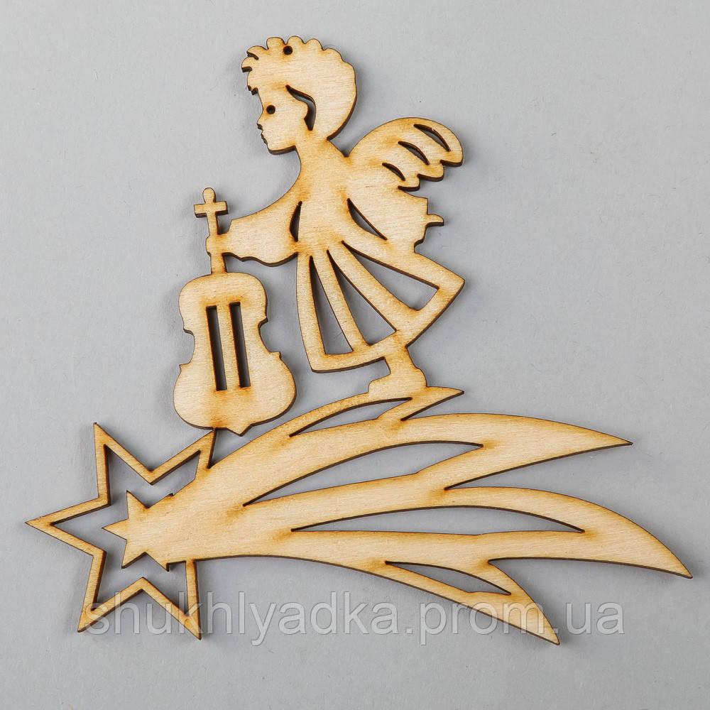 """Новогодняя деревянная елочная игрушка Подвеска """"Ангелочек-скрипач""""_деревянный декор_Новый год"""