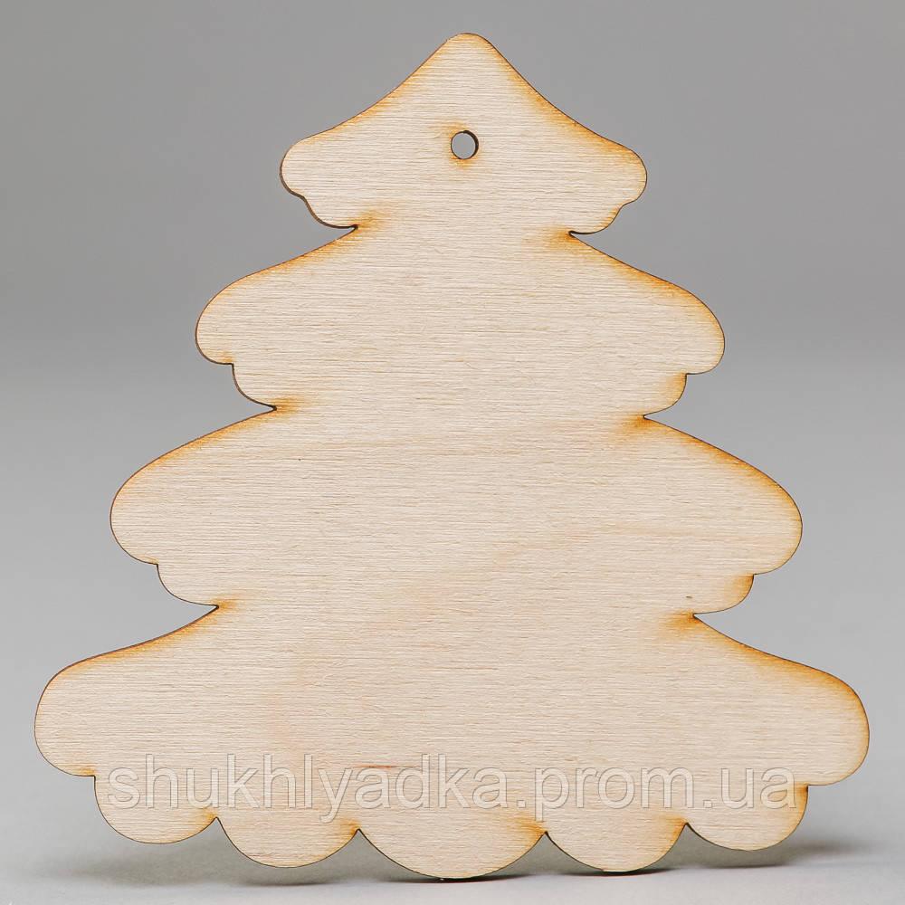 """Новогодняя деревянная елочная игрушка Подвеска """"Елочка пушистая""""_деревянный декор_Новый год"""
