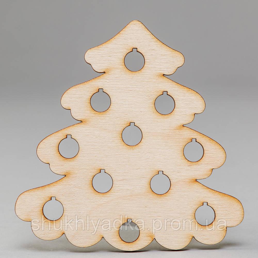 """Новогодняя деревянная елочная игрушка Подвеска """"Елочка пушистая с шарами""""_деревянный декор_Новый год"""