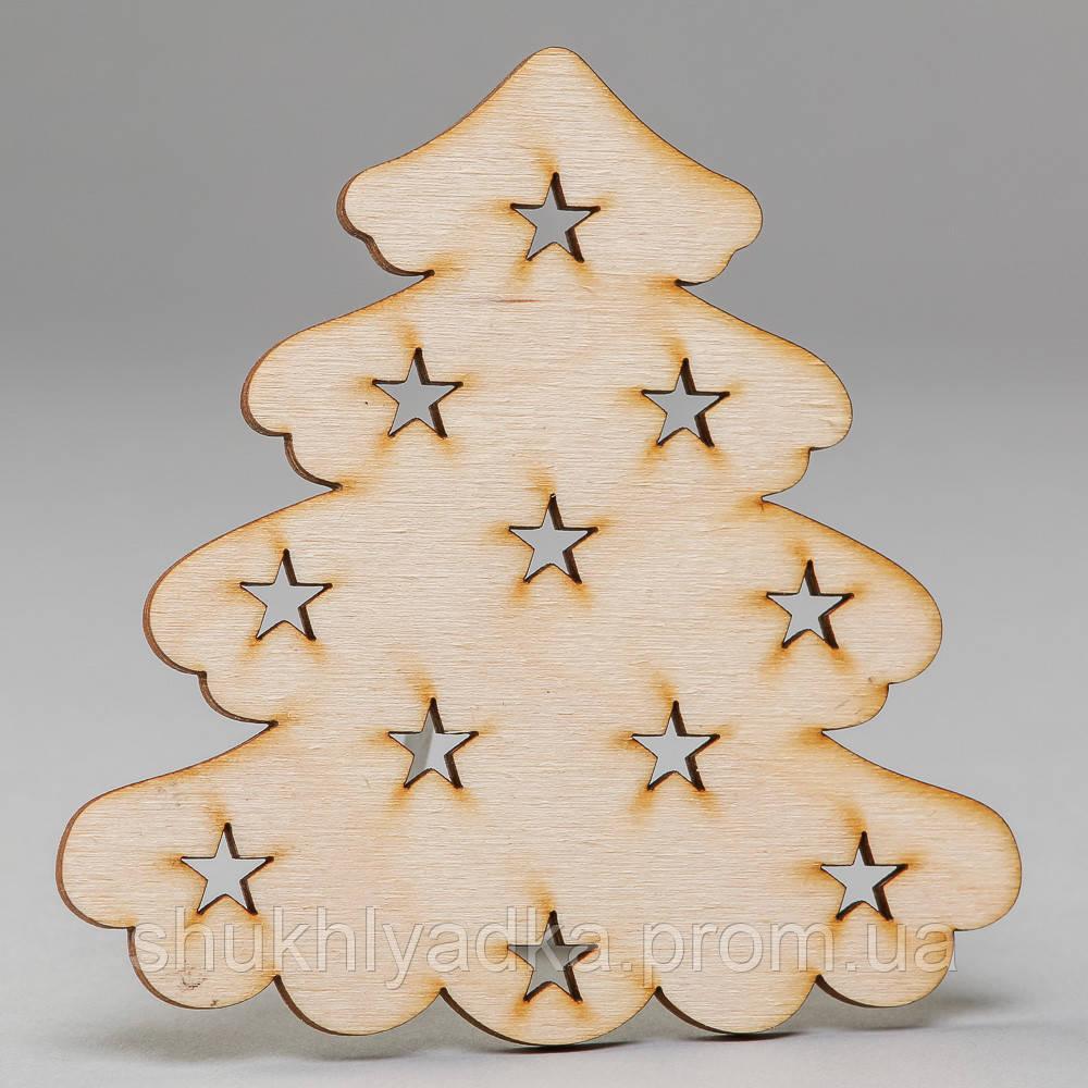 """Новогодняя деревянная елочная игрушка Подвеска """"Елочка пушистая со звездочками""""_деревянный декор_Новый год"""