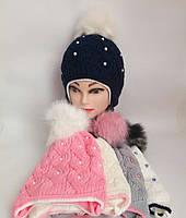 Детская вязаная шапка на флисе для девочки х/б подкладка р 50-52