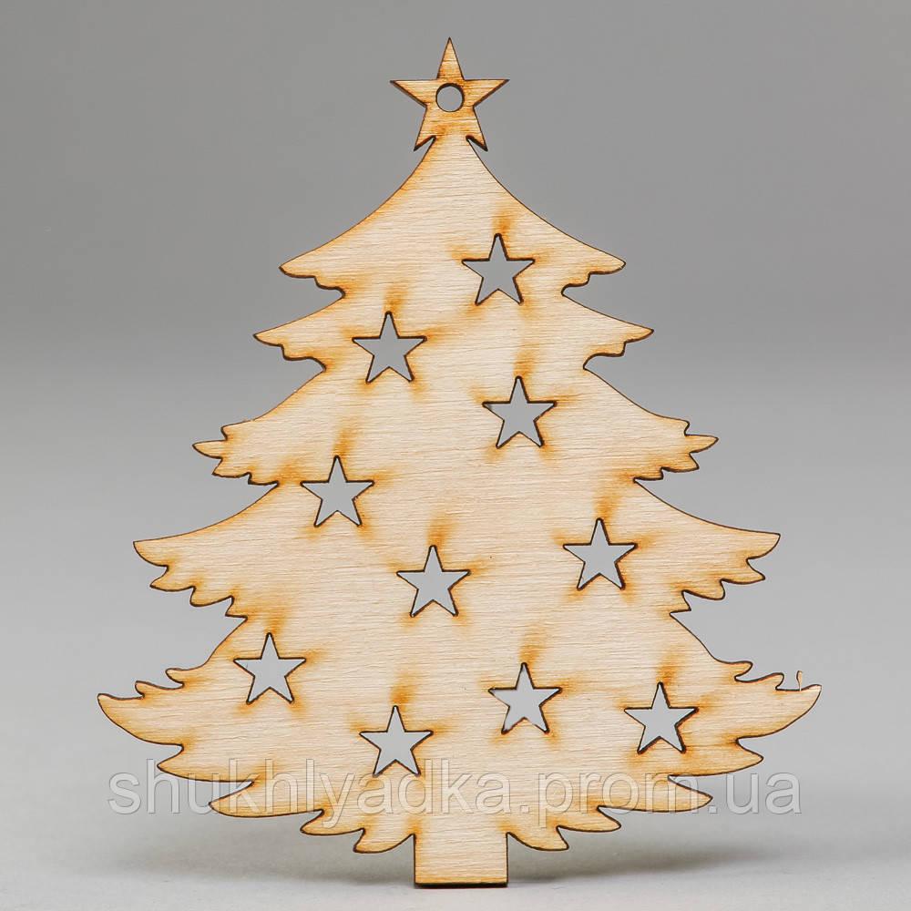 """Новогодняя деревянная елочная игрушка Подвеска """"Елочка со звездочками""""_деревянный декор_Новый год"""