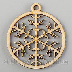"""Новогодняя деревянная елочная игрушка подвеска """"Иней""""_деревянный декор_Новый год. Заготовка"""