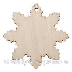Новогодняя деревянная елочная игрушка Снежинка_деревянный декор_Новый год.Заготовка