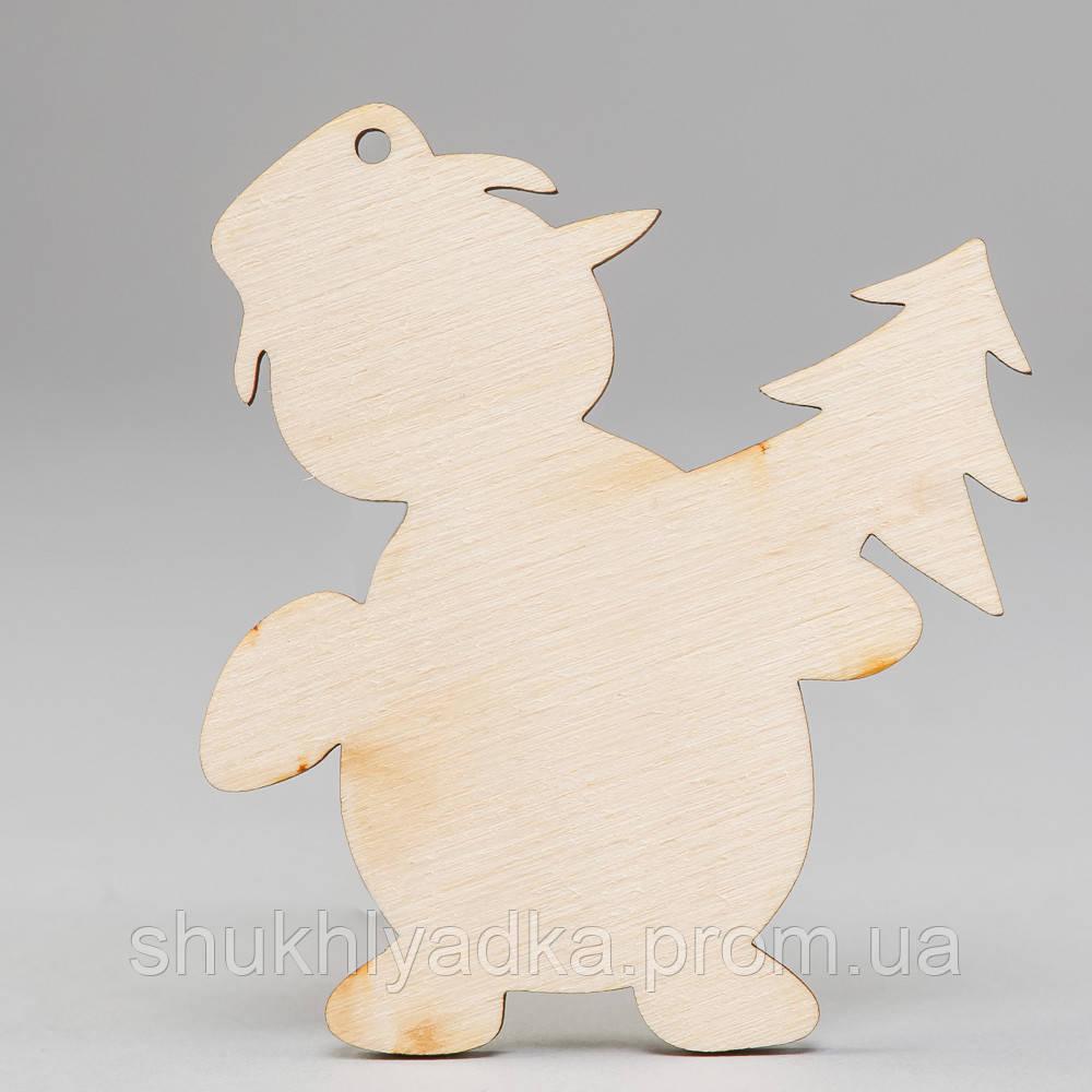 """Новогодняя деревянная елочная игрушка Подвеска """"Снеговик с елочкой""""_деревянный декор_Новый год"""