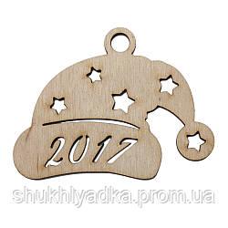 """Новогодняя елочная игрушка """"Шапка Санты""""_деревянный декор_Новый год"""