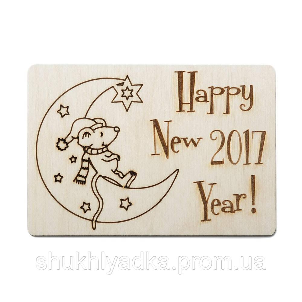 """Открытка """"Мышонок на месяце""""_деревянный декор_Новый год"""