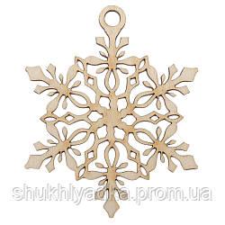 Новогодняя деревянная елочная игрушка Снежинка подвеска_4_деревянный декор_Новый год. Заготовка