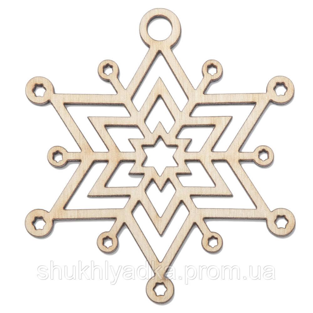 """Снежинка подвеска """"Круги""""_деревянный декор_Новый год"""