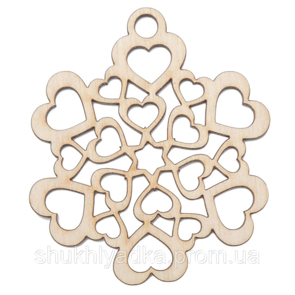"""Новогодняя деревянная елочная игрушка Снежинка подвеска """"Сердечная""""_деревянный декор_Новый год. Заготовка"""