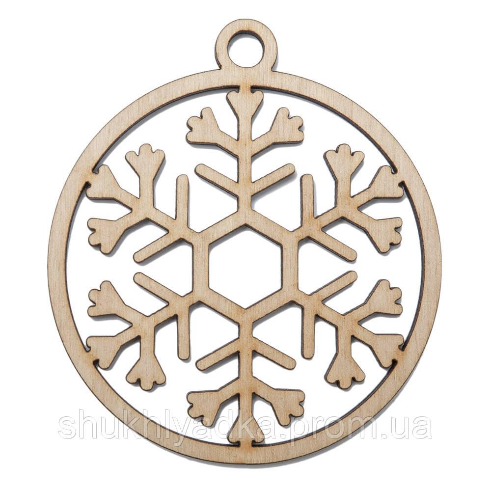 Новогодняя деревянная елочная игрушка Снежинка в шаре_7_деревянный декор_Новый год. Заготовка