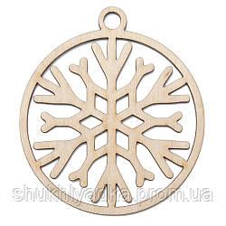 Новогодняя деревянная елочная игрушка Снежинка в шаре_3_деревянный декор_Новый год. Заготовка