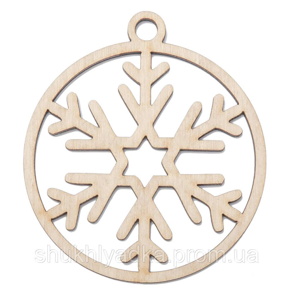 Снежинка в шаре_4_деревянный декор_Новый год