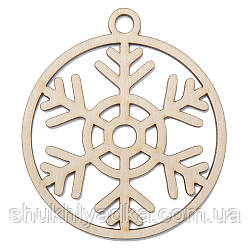 Новогодняя деревянная елочная игрушка Снежинка в шаре_6_деревянный декор_Новый год. Заготовка