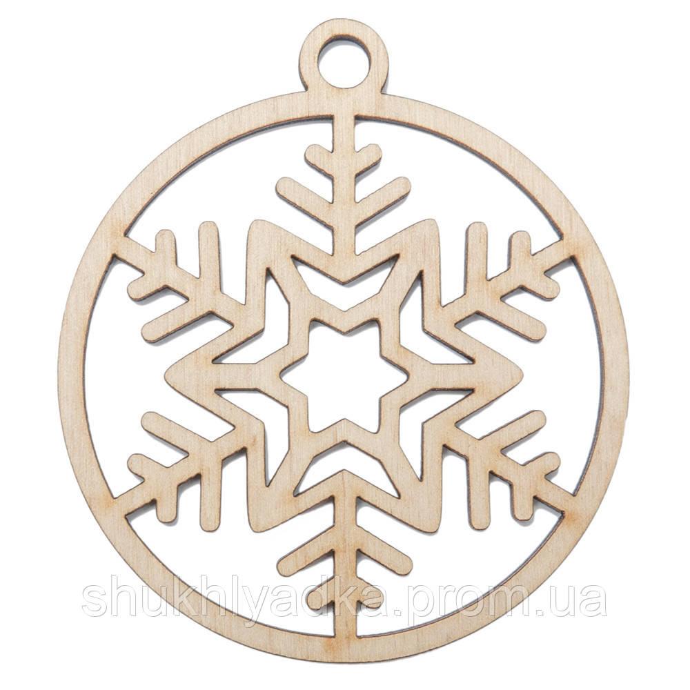 Новогодняя деревянная елочная игрушка Снежинка в шаре_8_деревянный декор_Новый год. Заготовка