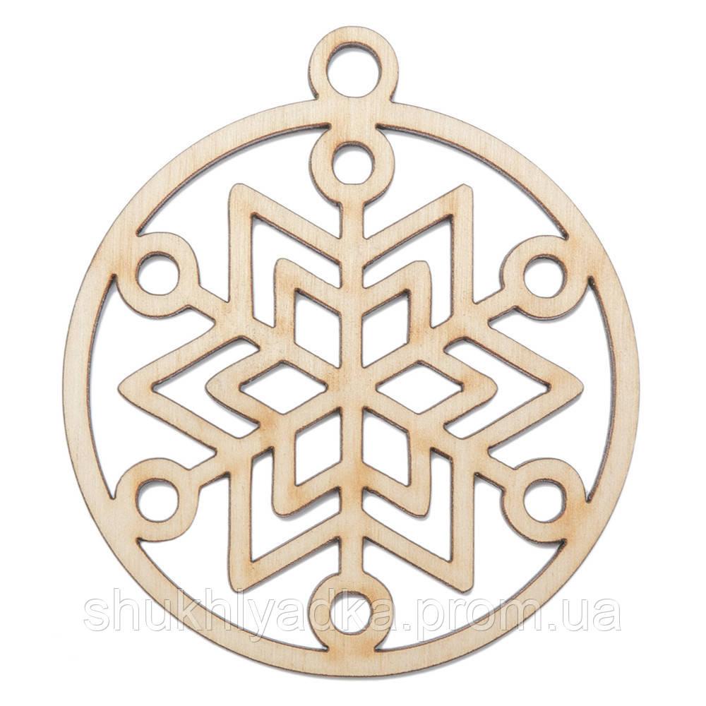 Снежинка в шаре_12_деревянный декор_Новый год