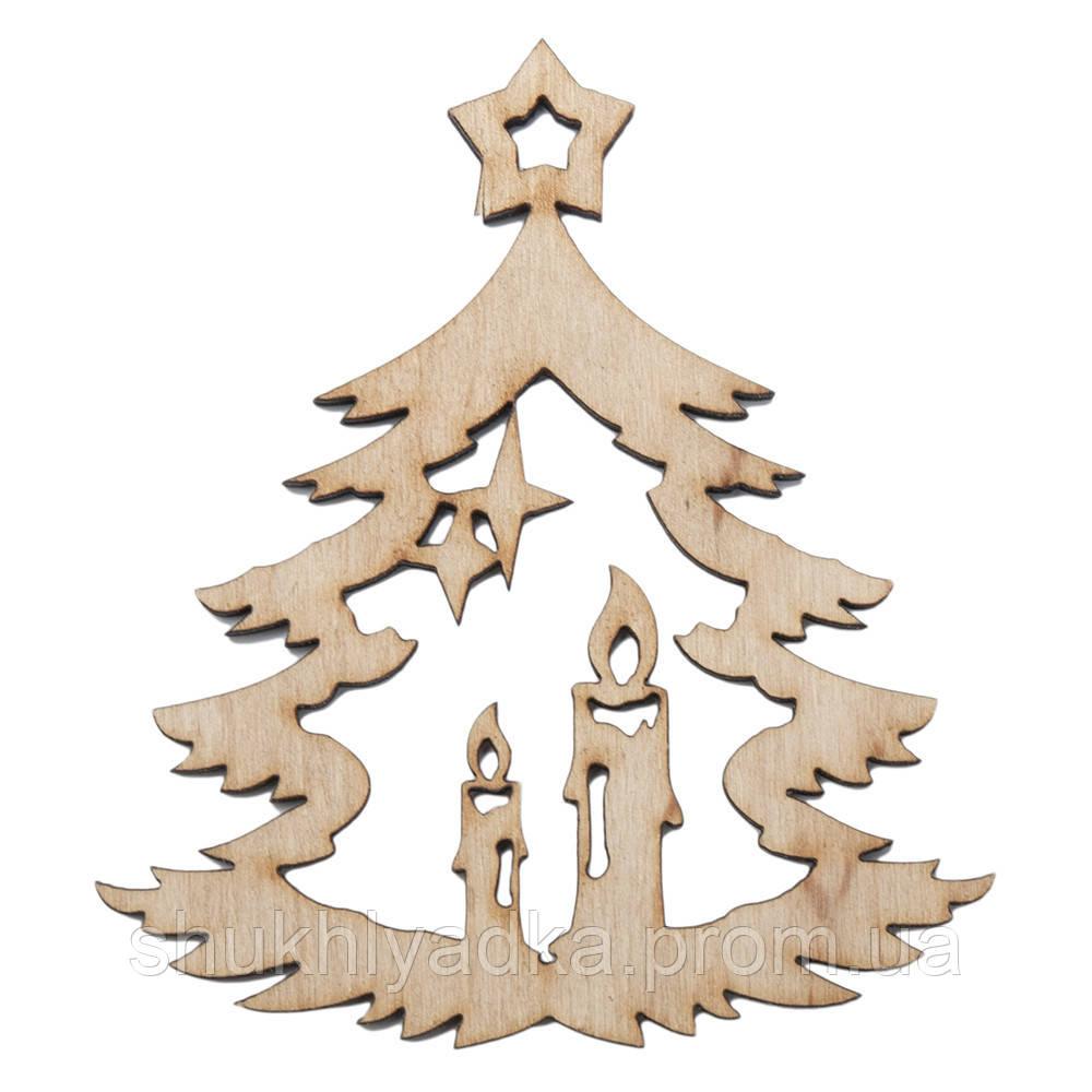 """Новогодняя деревянная елочная игрушка Подвеска """"Елочка cо свечами""""_Новогодний декор_фанера"""