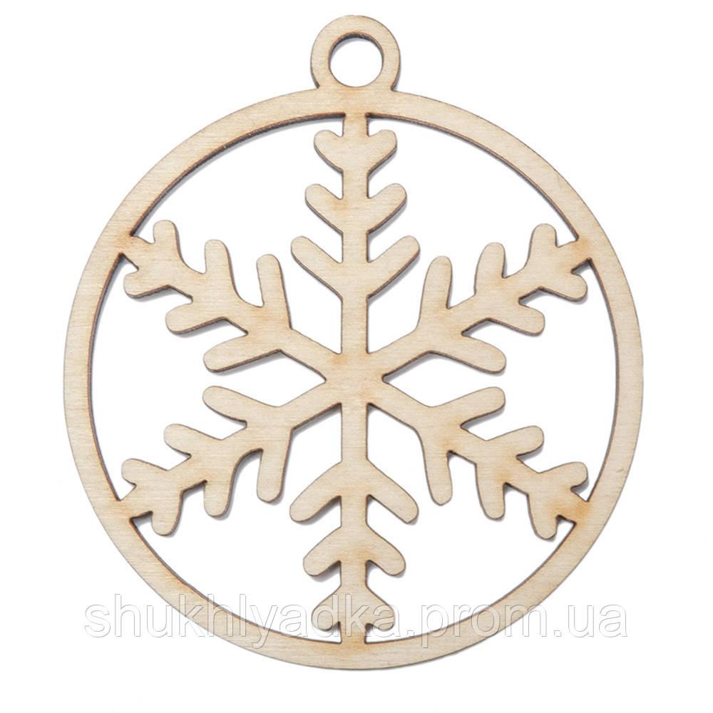 Снежинка в шаре_14_деревянный декор_Новый год