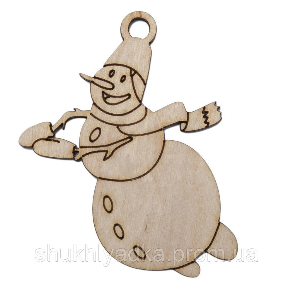 """Новогодняя деревянная елочная игрушка Подвеска """"Снеговик в полете""""_Новогодний декор_фанера"""