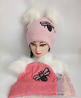 Детская вязаная шапка ангора на флисе для девочки р 52-54