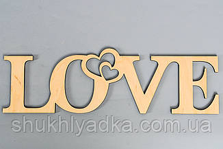 "Слова из дерева ""LOVE_два сердца""_Фанера"