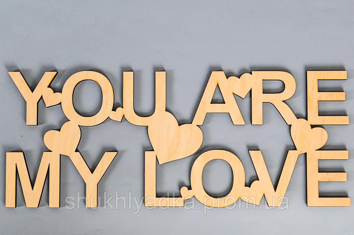 "Слова из дерева ""YOU ARE MY LOVE""_Фанера"