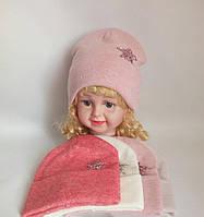 Детская вязаная шапка на флисе для девочки р 44-46