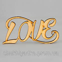 """Топпер_заготовка_декоративное слово """"LOVE"""" - 9,5 х 5 см"""