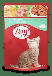 Влажный корм для котят Мяу 100 гр, пауч.