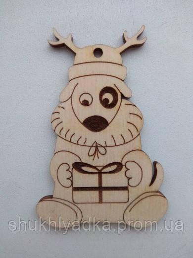 Новогодняя деревянная елочная игрушка Собачка_олень_Новогодний декор_фанера