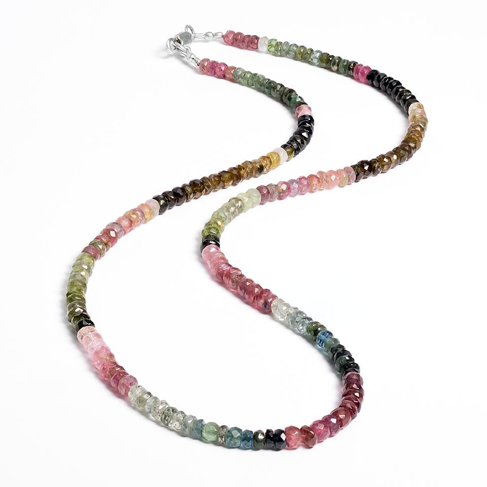 Турмалін різнобарвний гранований, намисто шнурок, 104ОТ