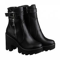 Черные зимние ботинки на тракторной платформе, натуральная кожа VM-714-02