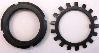 Гайка М12 (КМ 1) стальная круглая шлицевая DIN 981, фото 2