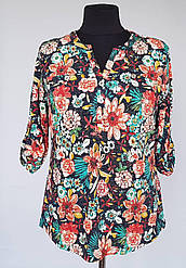 Женская теплая блуза туника с цветочным рисунком с 50 по 60 размер