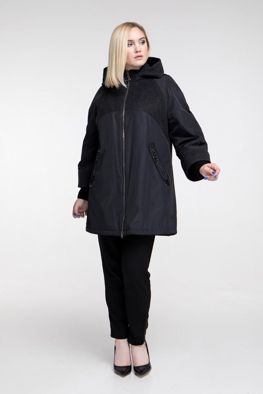 Демисезонное пальто плащевка и пальтовая ткань  Большие размеры 48, 50, 52