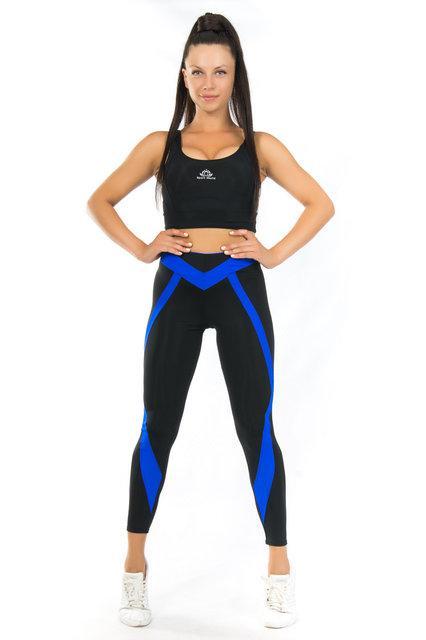 Комплект лосины и топ для спорта (размеры 42-44) (синий) одежда для йоги и фитнеса из бифлекса