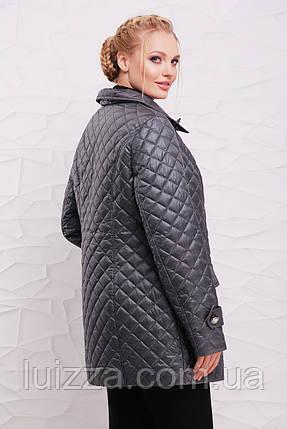 Женская демисезонная двубортная куртка 50-64 р серая, фото 2