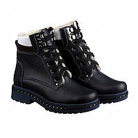 Синие женские ботинки на меху, натуральная кожа VM-ASTRA-131
