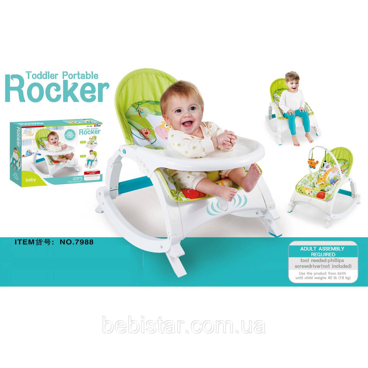 Детский шезлонг стульчик качалка салатовый до 18кг с музыкой и успокаивающей вибрацией