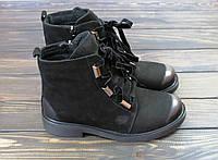 Осенние молодежные ботинки на низком каблуке кожаные, фото 1