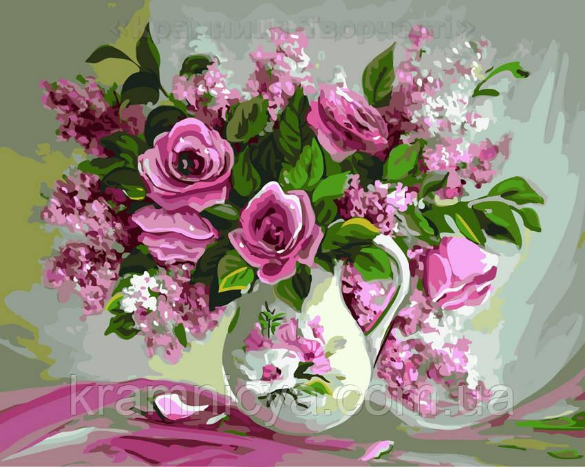 Картина по номерам 40х50 Букет роз и сирени (GX22401)