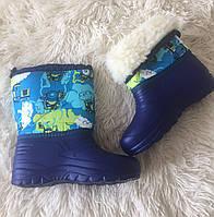 Детские зимние дутики синие оптом ПАРОВОЗИК, фото 1