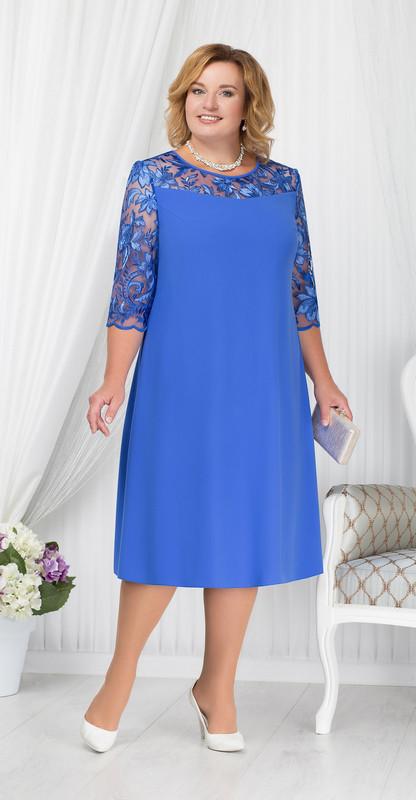Платье Ninele-7201/2 белорусский трикотаж, василек, 54