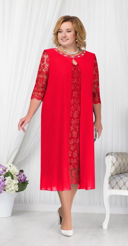 Платье Ninele- 7204 белорусский трикотаж, красный, 54