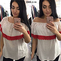 Блузка женская с воланом батал 1501.1 гл Код:689911965