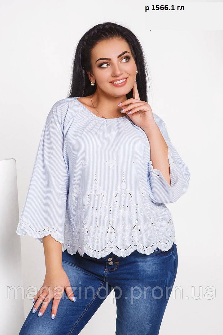 Блуза батальная с вышивкой  р 1566.1 гл Код:689255521