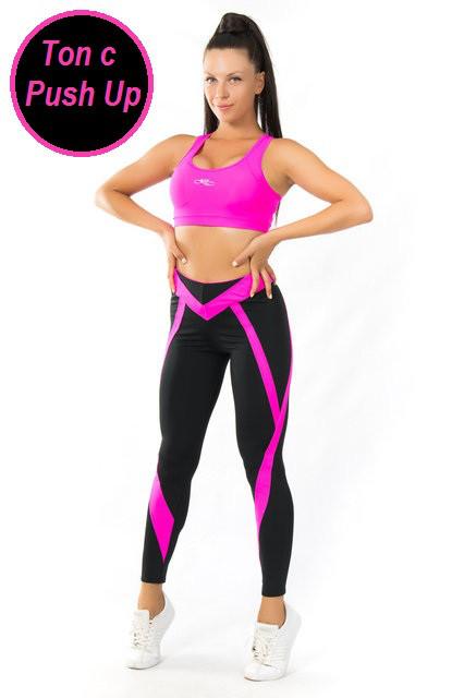 Одежда для йоги и фитнеса с ПУШ-АП (42-44; 44-46; 46-48) (розовый) женская одежда для спорта из бифлекса