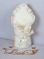 """Одеяло-плед """"Ажур""""(зима) (кремовый, вязаное полотно акрил, зима, (90*90))"""