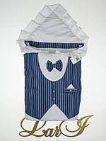 """Одеяло-конверт""""Джентльмен"""" (белый/синий(полоска), поликоттон/бязь, д/с, (85*85)), фото 1"""