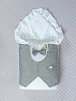 """Одеяло-конверт""""Джентльмен""""(зима) (белый/цв,(полоска), поликоттон, зима, (90*90))"""